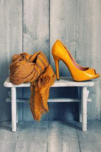 Retro photo of yellow shoes