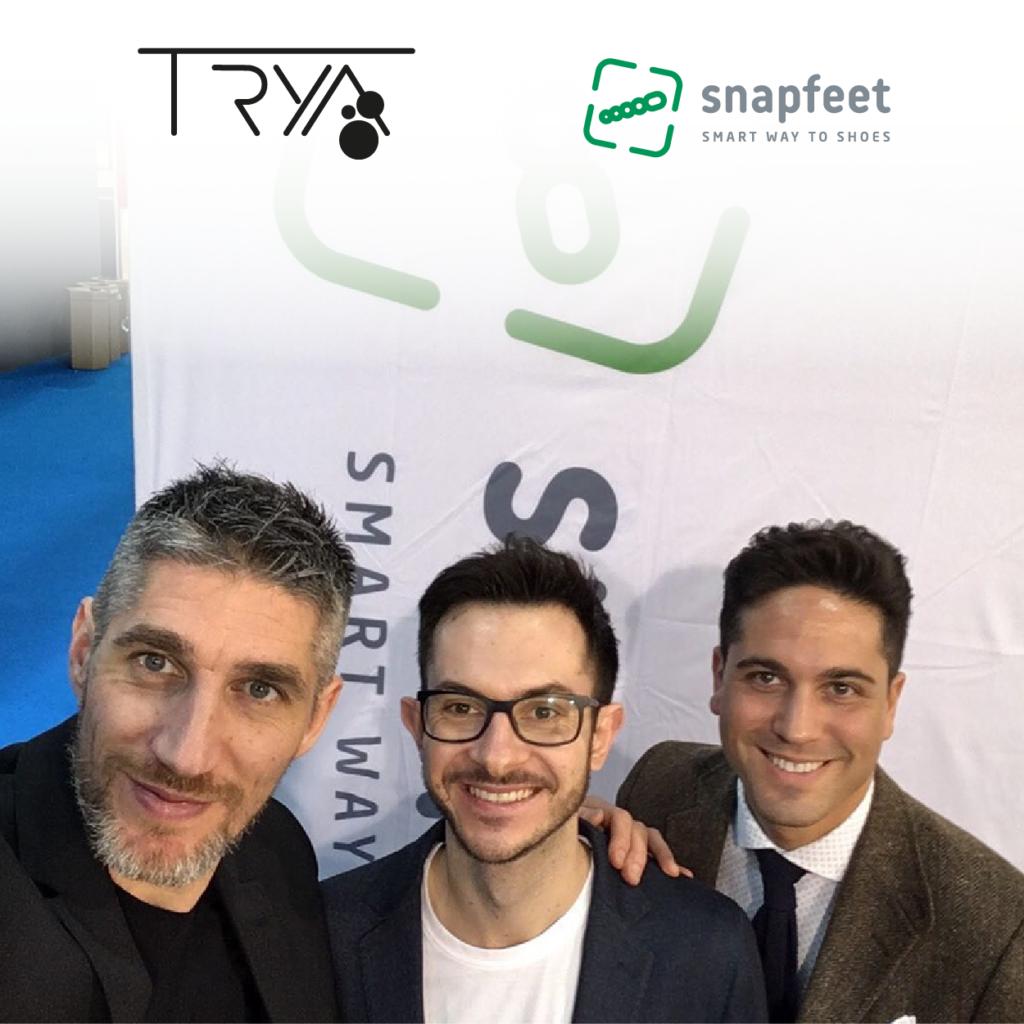 (da sinistra) Giorgio Raccanelli - fondatore e amministratore delegato di Trya, Mikelino Gjika - responsabile dei test prodotto, Naor Adno - direttore commerciale