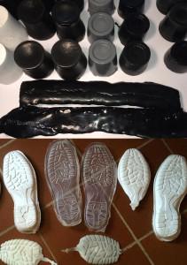 Fig. 6. Campioni di poliuretani per calzature antinfortunistiche oggetto d'analisi dello Studio d'Ingegneria Rogante mediante tecniche neutroniche